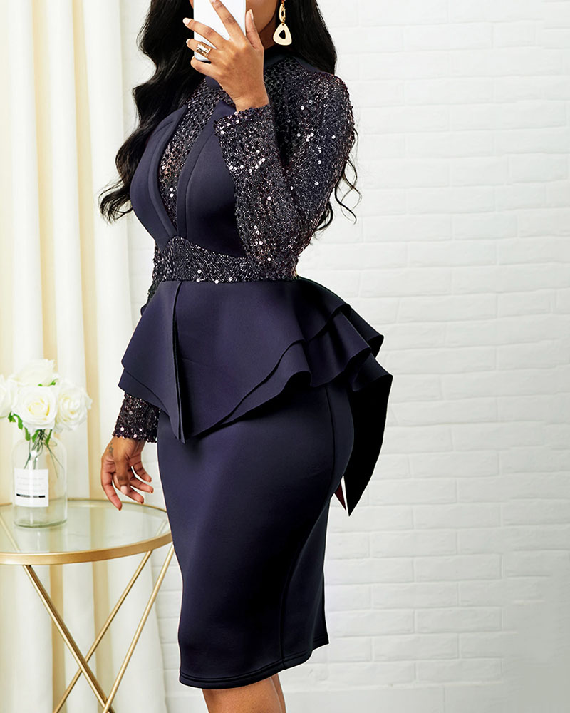 Ruffled Long Sleeve Bodycon Evening Dress
