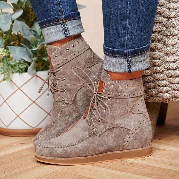 Bonnieshoes Faux Suede Lace Up Booties