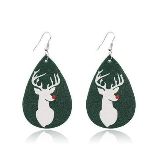 1 Pairs Christmas Elk Waterdrop Shape Christmas Tree PU Leather and Sequin Earring Christmas Gifts for Teens Girls Cute Bohemia Style Festive Earrings Jewelry Party