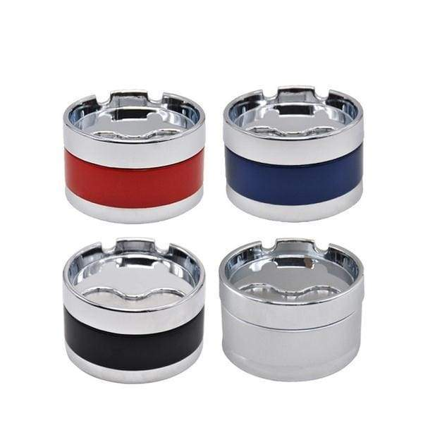 Portable Metal Ashtray Rotation Cover Fully Closed Removable Metal Cleaning Desk Car Ashtrays