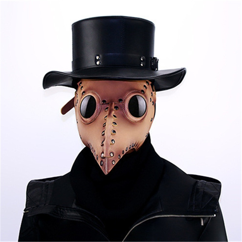 Long Beak Masquerade Mask Cosplay Props Halloween Ornament Steampunk Plague Doctor Mask Gothic Pu Leather Bird Masks Party Supplies