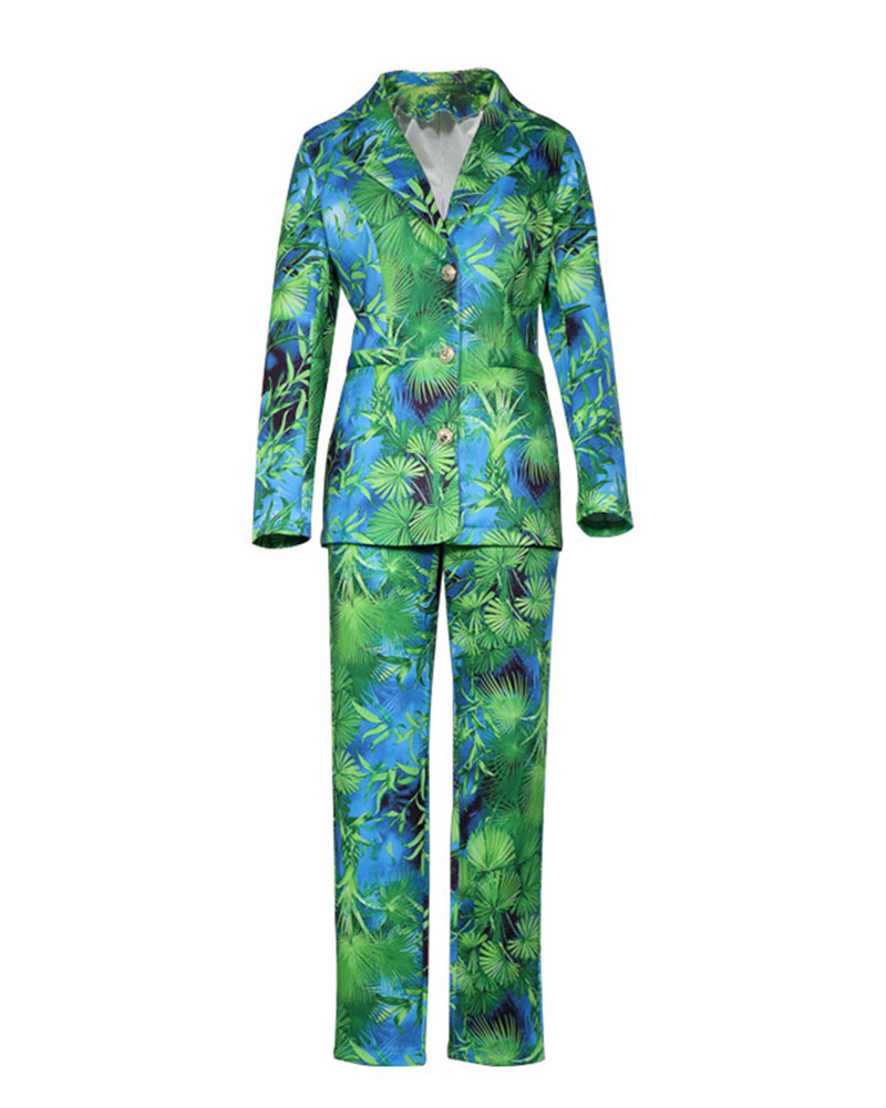 Fashion Casual Printed Trousers Blazer Two-Piece Suit