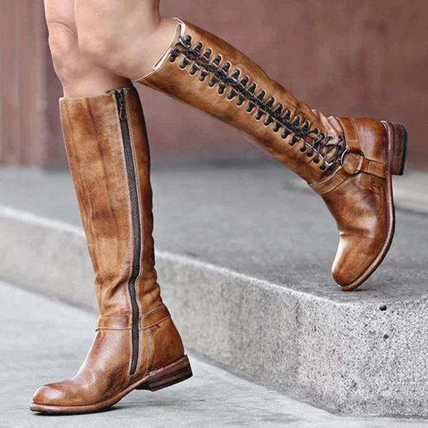 Bonnieshoes Women Lace-Up Zipper Casual Comfortable Knee Boots