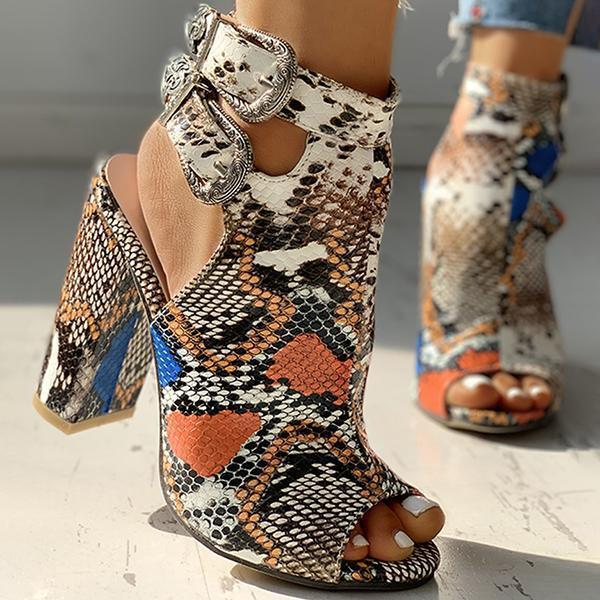 Bonnieshoes Snakeskin Ankle Buckled Chunky Heels
