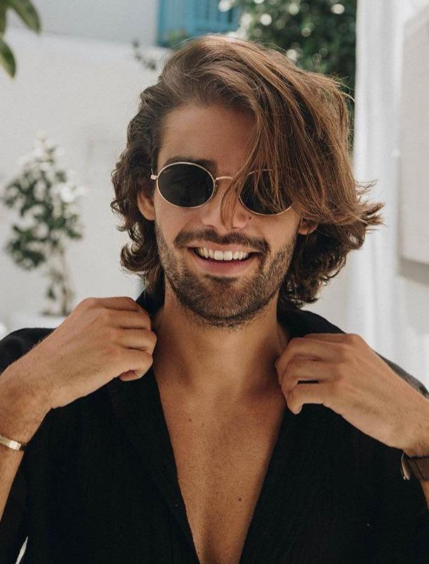 Mid-length men's style wig