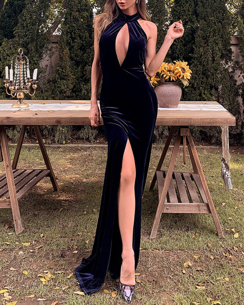 Velvet Sleeveless Split Mopping Evening Dress