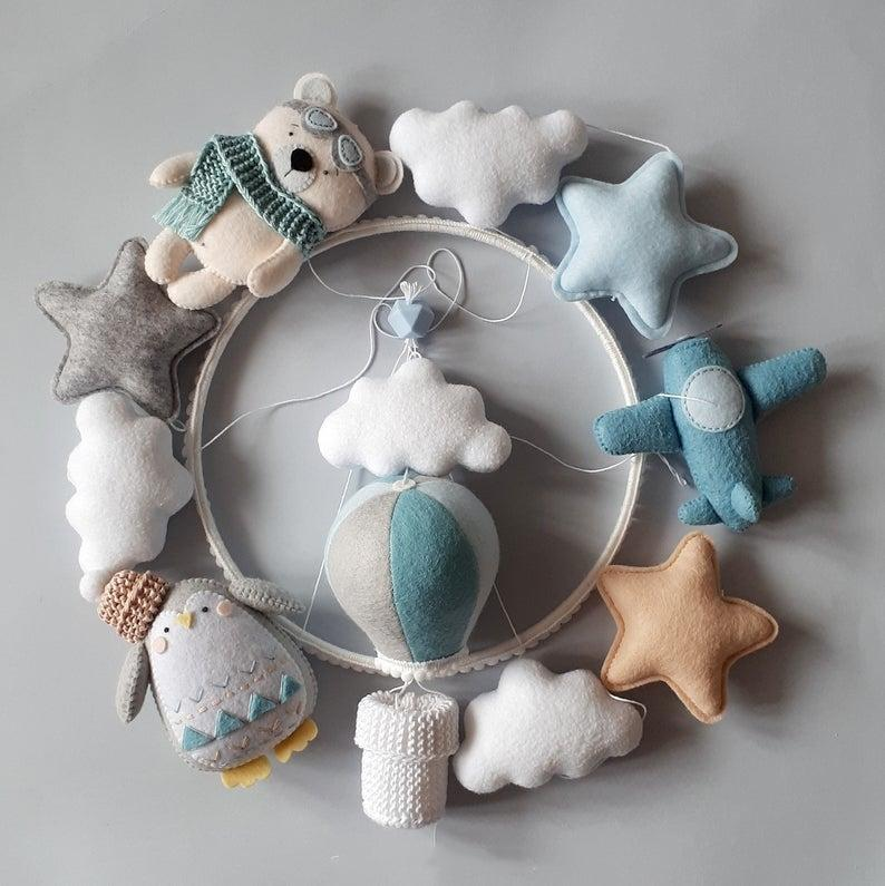 Nursery mobile, blue cot mobile for boy, hot air balloon mobile, airplane and bear mobile, new baby gift