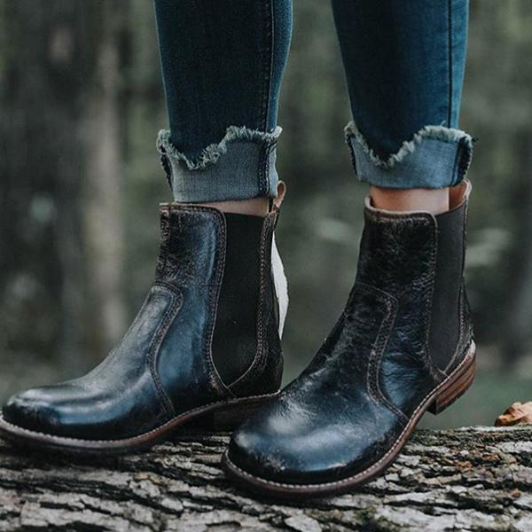 Zoeyootd Vintage Low Heel Pull-on Ankle Boots