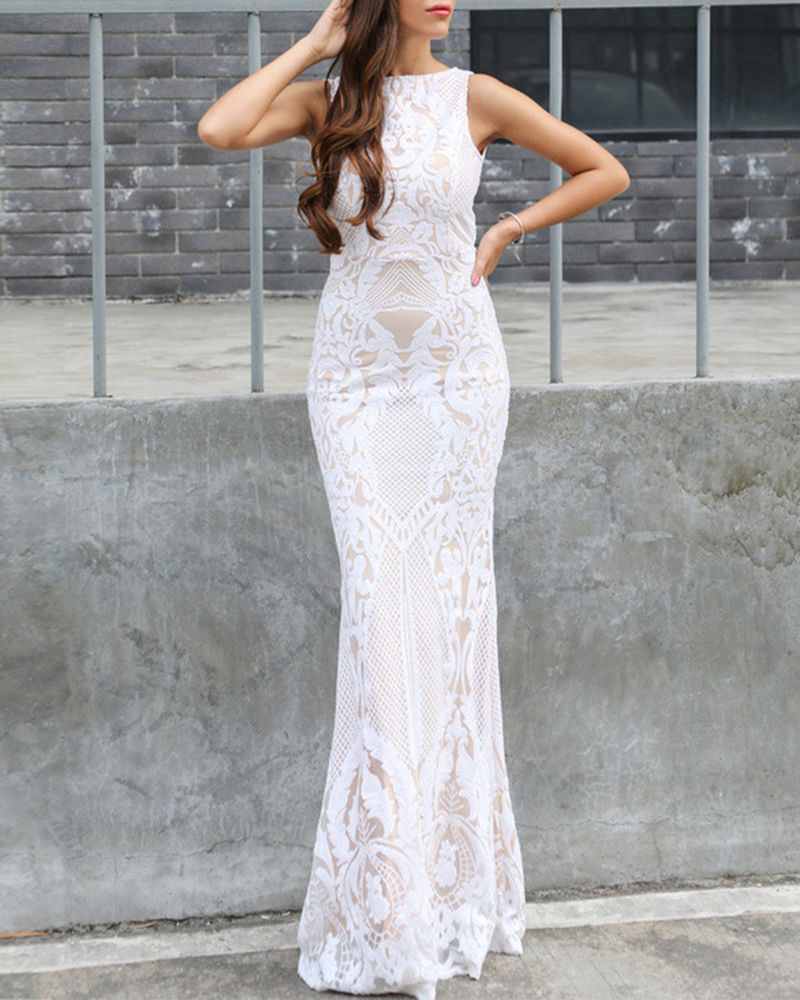 Off-The-Shoulder Sequined Sleeveless Evening Dress