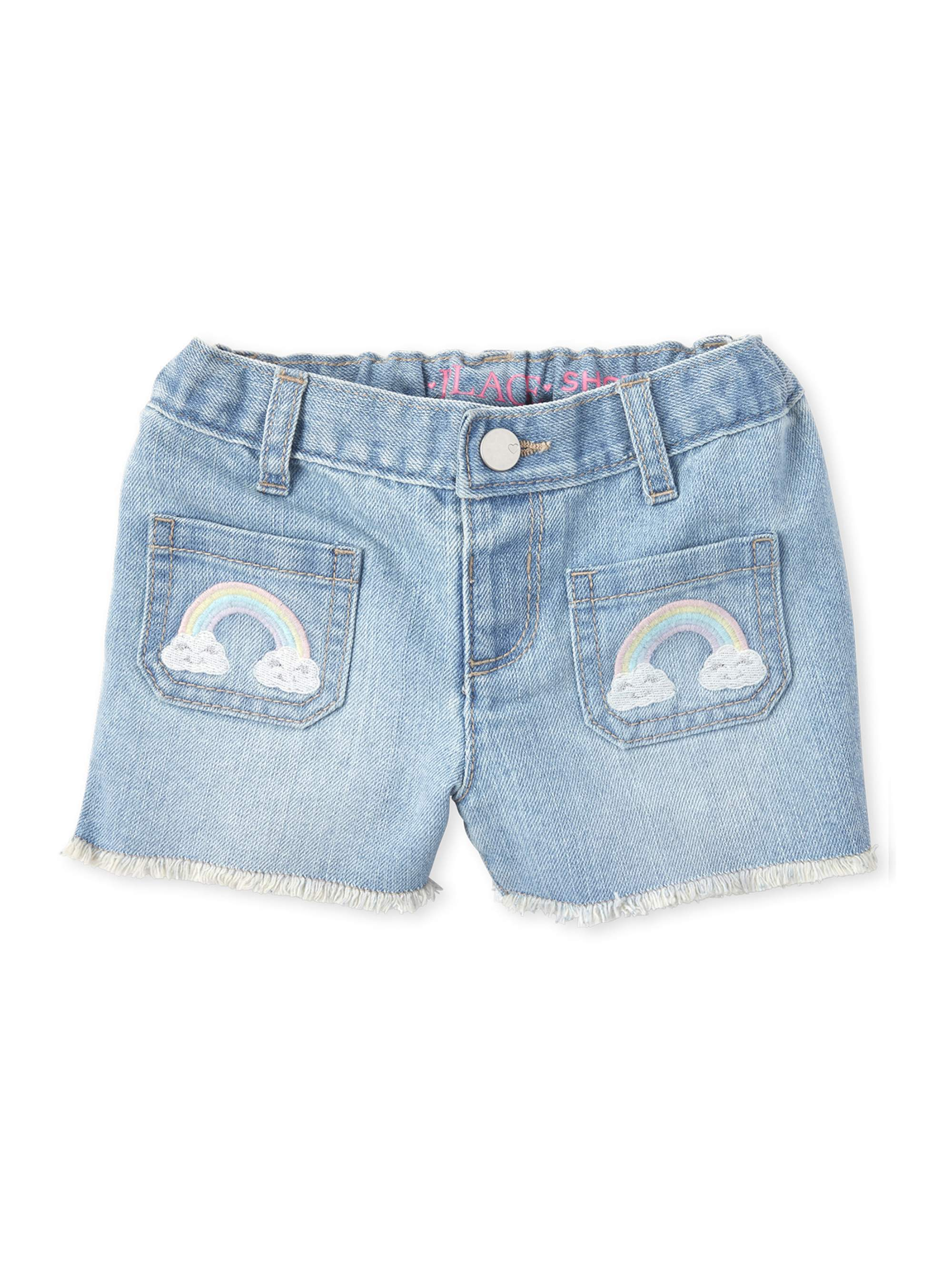 The Children's Place Baby & Toddler Girl Rainbow Embellished Denim Shorts