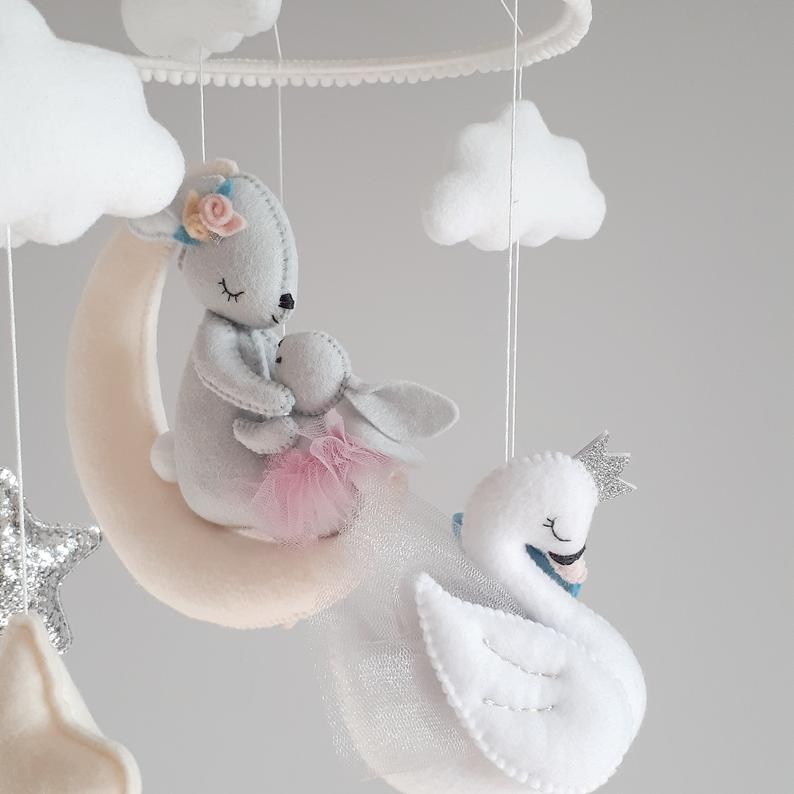Hanging baby mobile for girl, This pink baby crib mobile is for a nursery room, Cot mobile with a mom bunny and baby bunny, Unicorn mobile