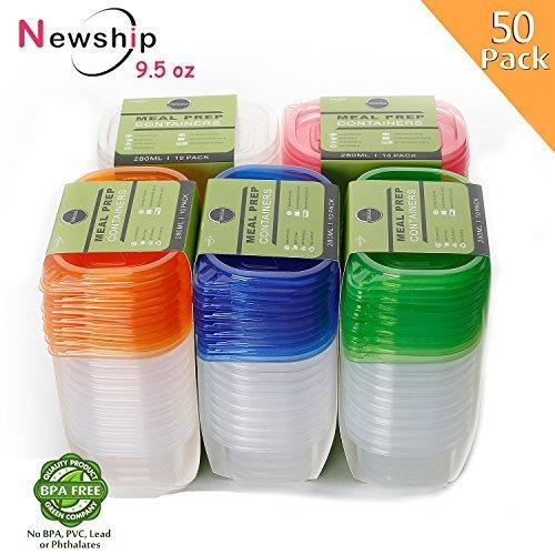 [50 Pack] Small Food Storage Containers with Lids, NewShip BPA Free Plastic Left