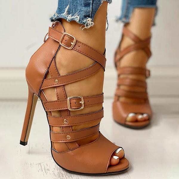 Upawear Solid Hollow Out Ankle Strap Thin Heeled Sandals