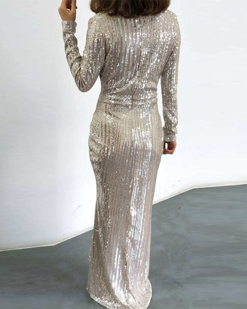 Fashion Long Sleeve Sequin Slit Evening Dress