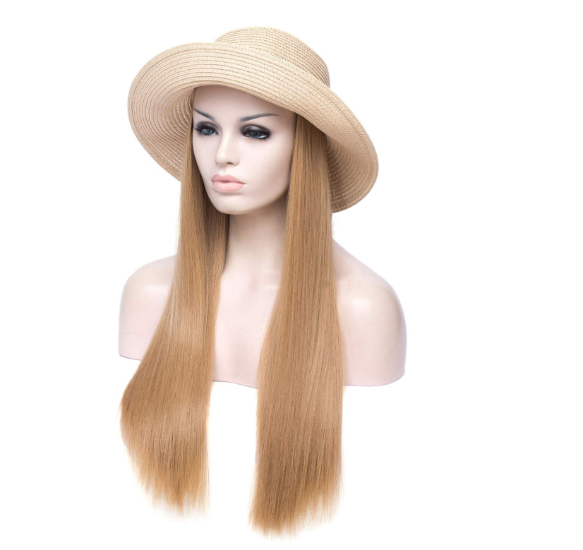 TopWigy Light Brown Wig for Women Synthetic Hair Wide Brim Straw Hat Wigs Sunhat for Summer Beach Travel