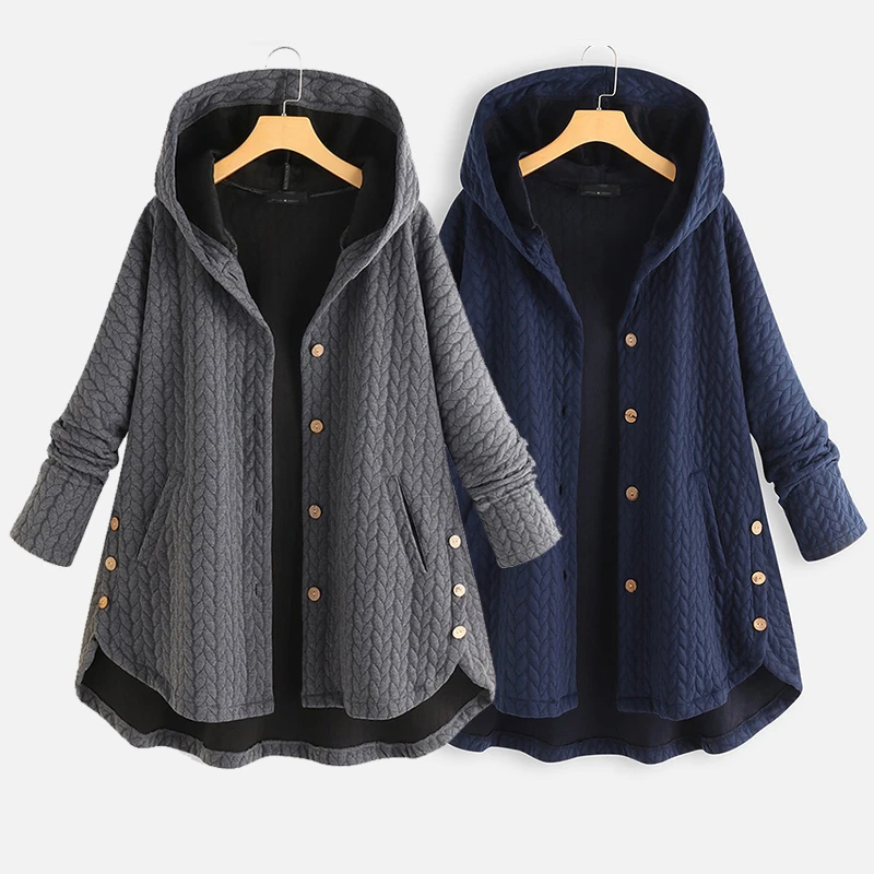 Twisted button hooded jacket