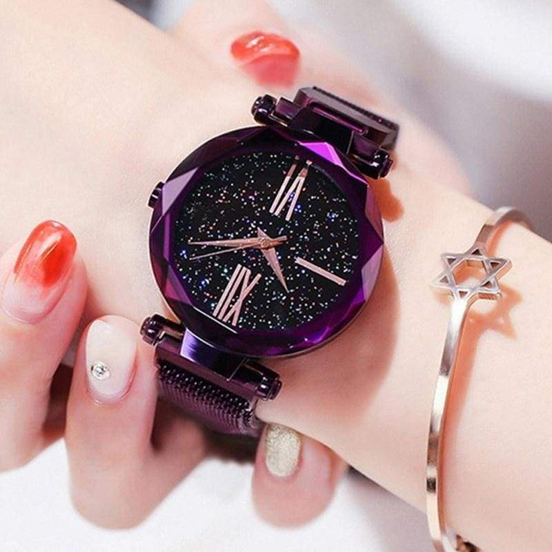 Valentine's Day Rose Gold Women Watches Casual Starry Sky Lady Wristwatch Magnet Buckle Fashion Female Watch Gift
