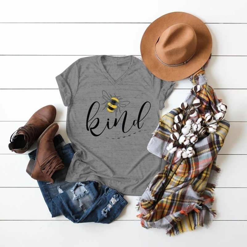 Women Summer New Fashion Casual V-Neck T-shirt Short Sleeve Letter Printed kind  T Shirt Plus Size Tops (S-5XL)
