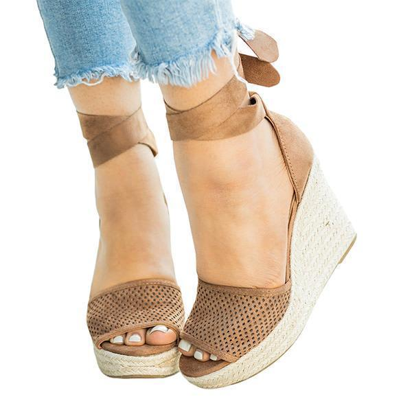 Mokoshoes Espadrille Lace Up Wedge Braided Sandals