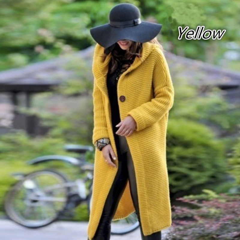Autumn Winter Women Cashmere Cardigan Hooded Sweater Coat Lady Solid Color Thick Soft Jacket Manteau Femme Long Overcoat Mantel