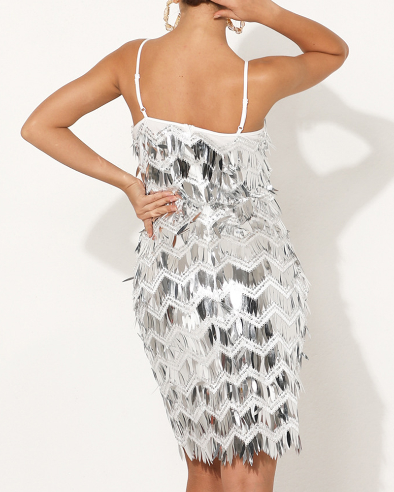 Off-The-Shoulder Sequined Bodycon Mini Evening Dress