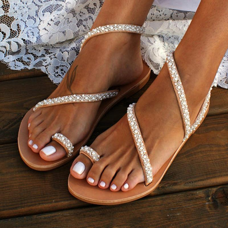 Silver wedding sandals 2 straps flat sandals with sparkles, ring toe rhinestone sandals