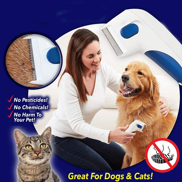 Pet Electric Flea Comb Cat Dog Comb for Fleas Ticks Grooming Removal Automatic Kill Lice Electric Head Brush Pets products