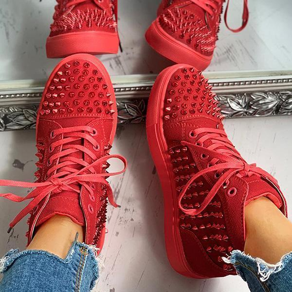 Mokoshoes Solid Studded Eyelet Lace-Up Casual Sneakers