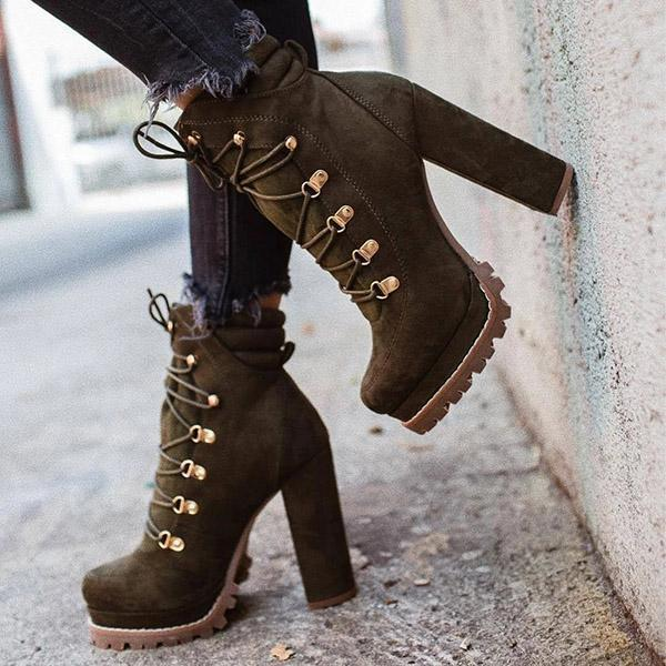 Mokoshoes Suede Chunky Heel Ankle Boots