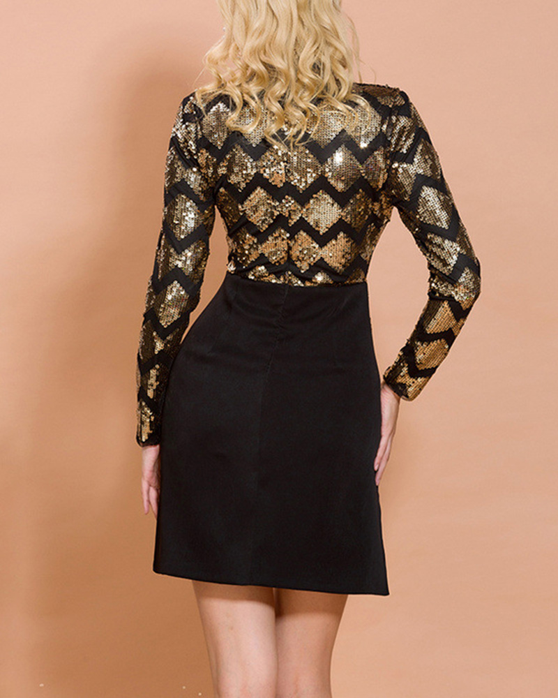 Long Sleeve Sequined Mini Evening Dress