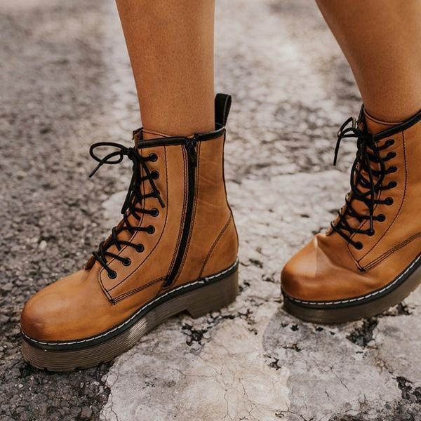 Zoeyootd Daily Outdoor Lace-up Low Heel Boots