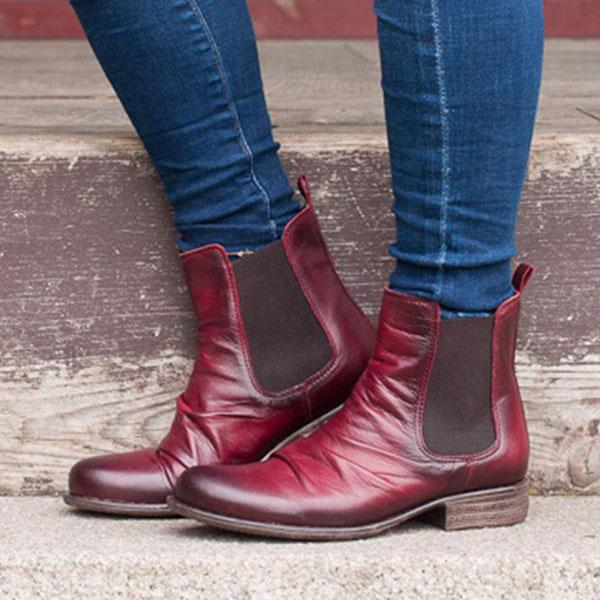 Bonnieshoes Pull-On Round Toe Low Heel Boots