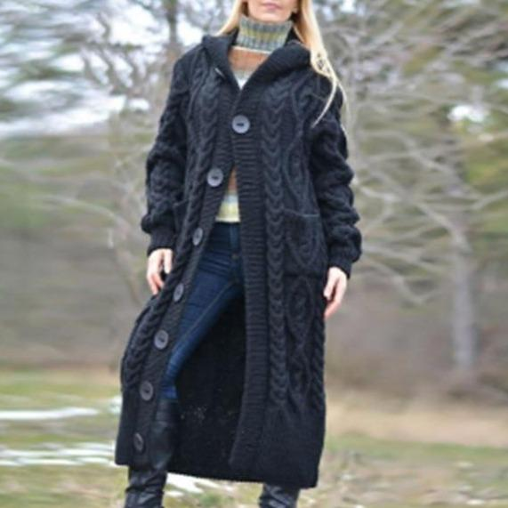Women's long cable knit hooded chunky cardigan duster cardigan coat