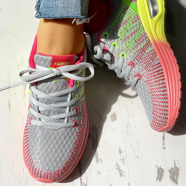 Zoeyootd Colorblock Knitted Breathable Lace-Up Sneakers