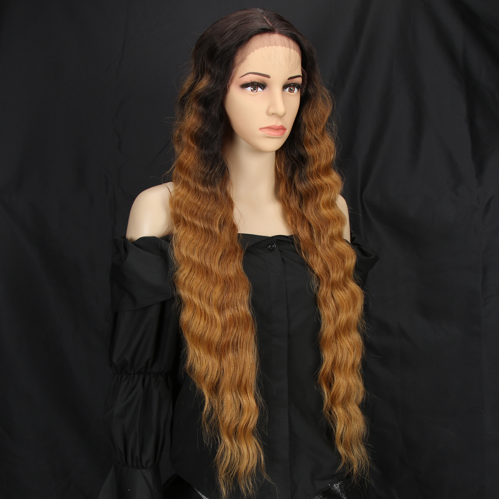Lacwig® |  Long Wave Wigs For Women Deep Wave Middle Part Ombre Blonde Brown 6 Colors Available