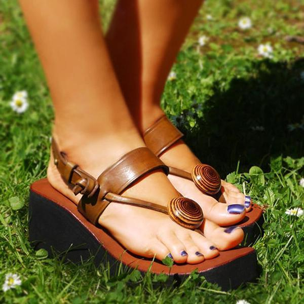 Mokoshoes Brown Platform Sandals