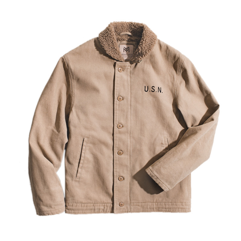 Vintage Outdoor Cotton,Polyester Long Sleeve Polo Plain with Cotton Jacket/down Jacket(Plus Size)