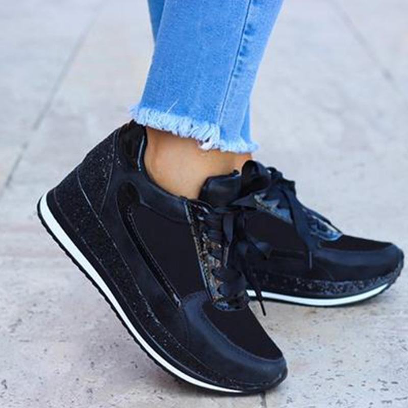 Women Casual Shiny Wedge Sneakers