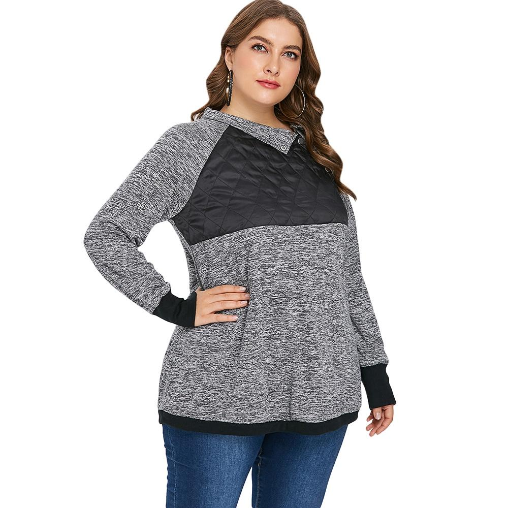 Plus Size Marled Two Tone Long Sleeve T-shirt