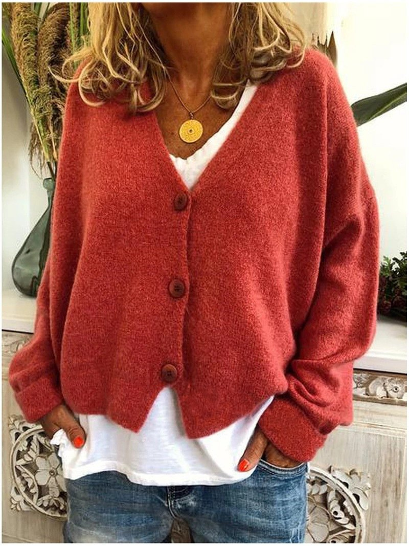 Women's v neck button up cardigan sweater knit solid color oversized sweater