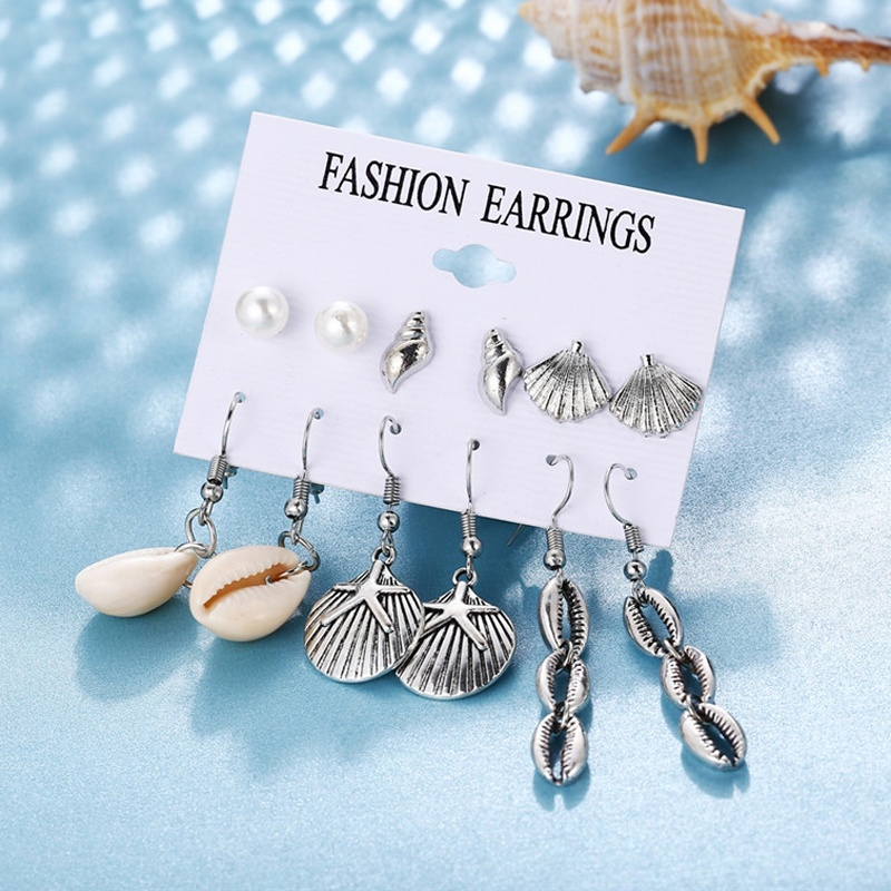 Bohemian Ethnic Shell Pendant Long Tassel Drop Earrings Set Dainty Starfish Crystal Pearl Heart Simple Hoop Earrings Stud Earring Sets Jewelry Accessories