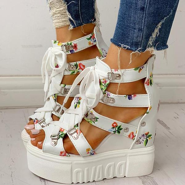 Zoeyootd Platform Shoelaces High Sandals