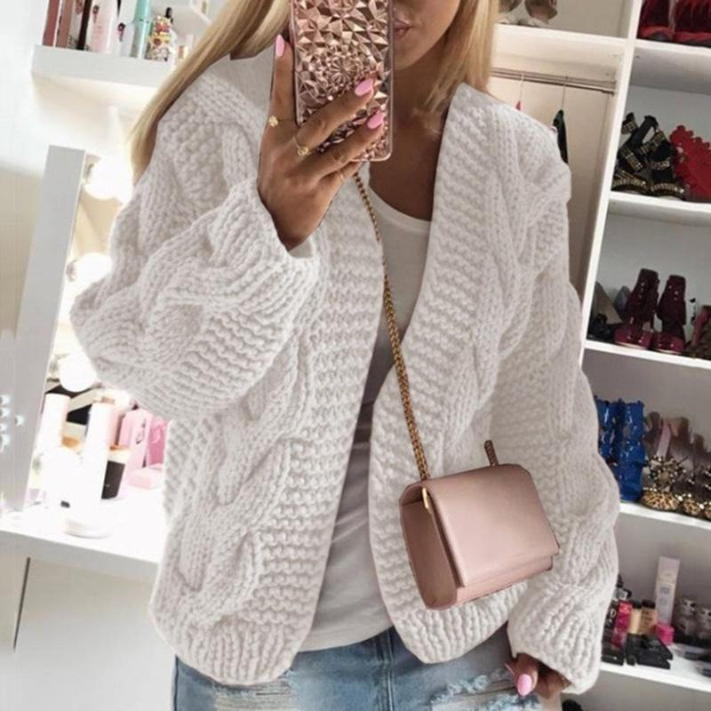 Womens cable knit cardigan sweater open front chunky cardigan for winter
