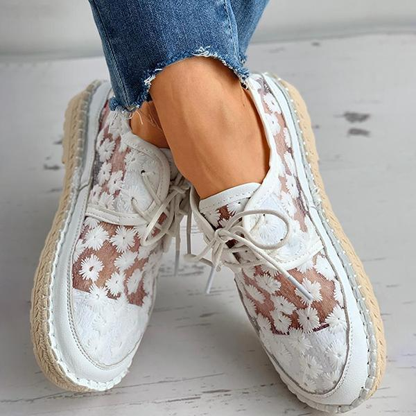 Upawear Floral Pattern Woven Flax Lace-Up Sneakers
