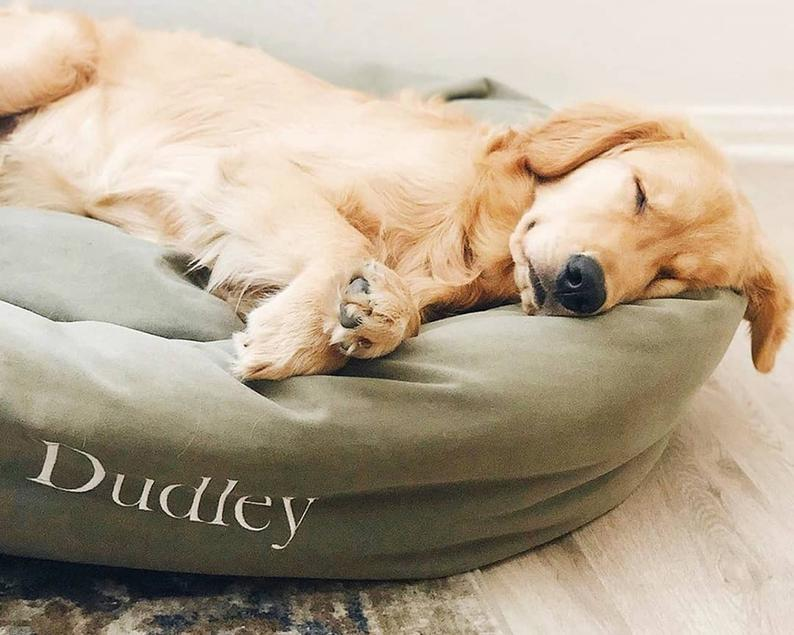 Personalized Bagel Style Dog Bed Durable Bedding Supportive Cushion Custom Embroidered Machine Washable