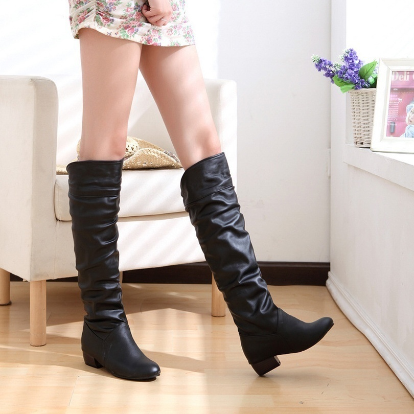 Plus Size 35-43 Winter Women Long Boots Fashion Ladies Low Heel Leather Boots (White, Black, Brown)