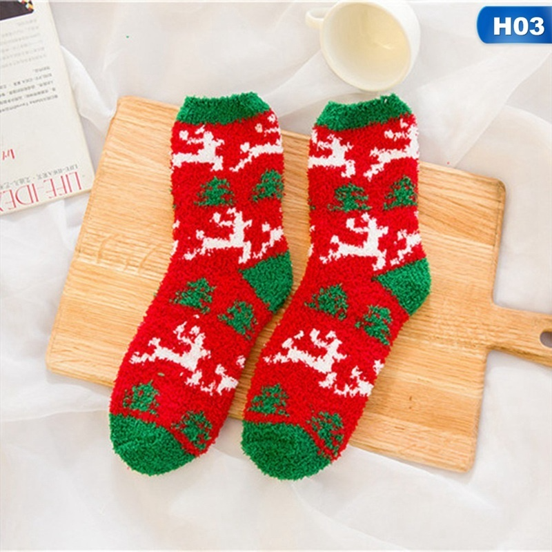 Christmas Printed Coral Fleece Thicken Warm Fluffy Winter Floor Sock