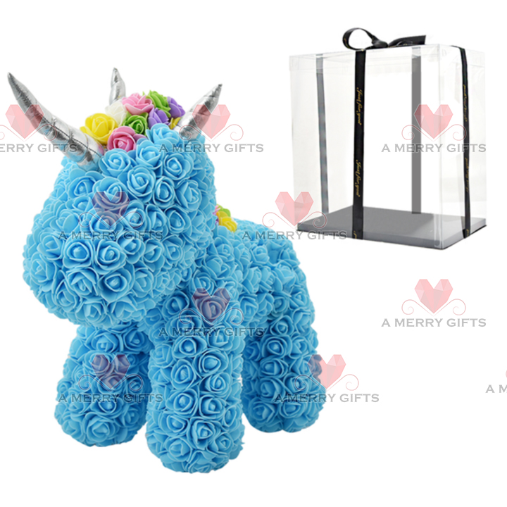 LIGHT BLUE Luxury Rose Unicorn with Gifts Box & LED Lights