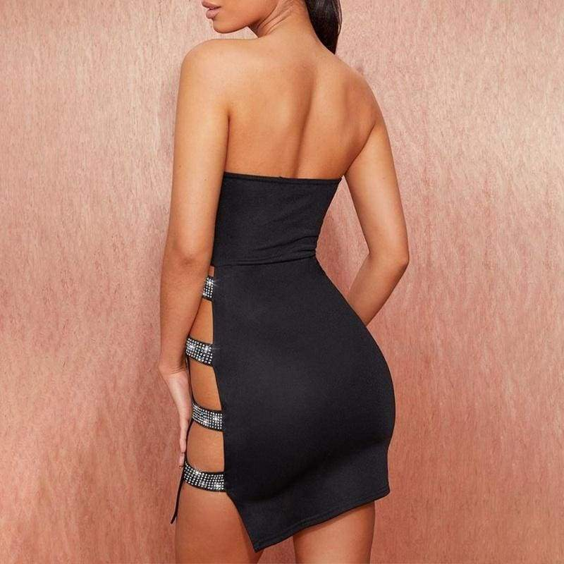 Women Studded Ladder Cut Out Tube Bodycon Off Shoulder Backless Dress