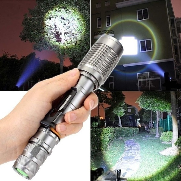 Zoomable 5-Modes New CREE XM-L2 LED Tactical Military Emergent Flashlight Torch+2 18650 Rechargeable Batteries+ Charger
